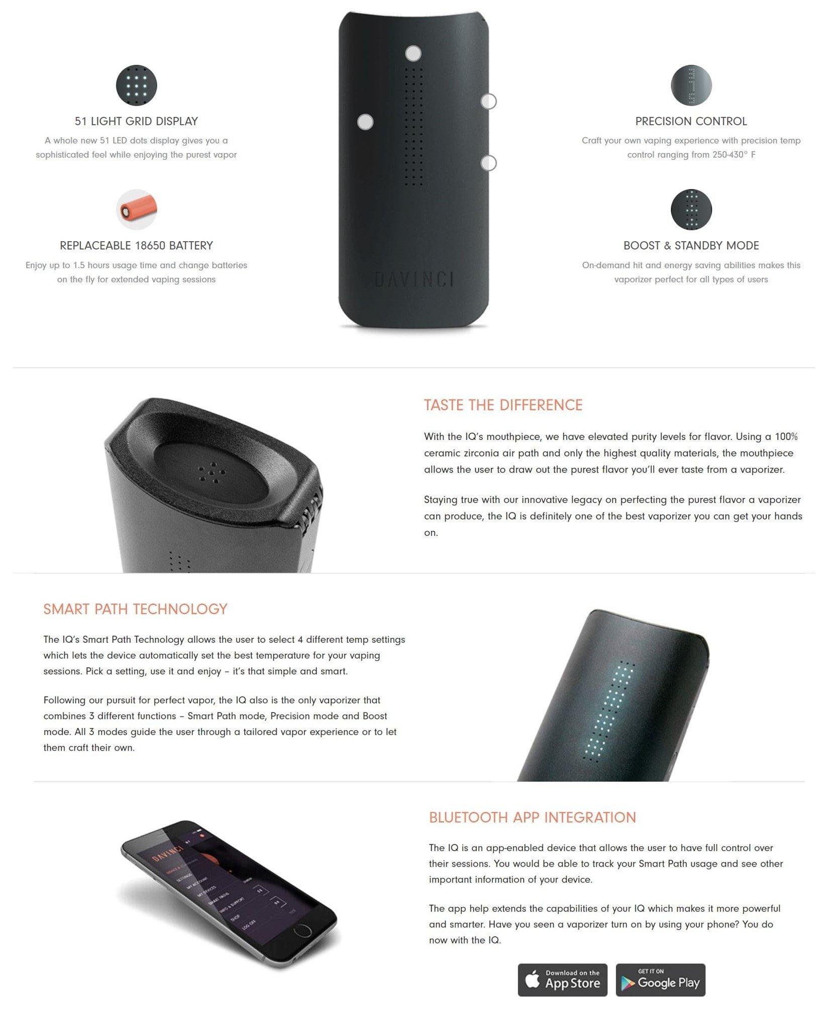 DaVinci IQ Herb Vaporizer unique design, ceramic air path, Smart Path technology and mobile app integration