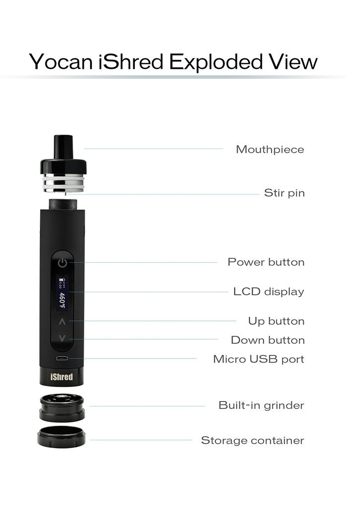 Yocan iShred Dry Herb Vaporizer feature highlights