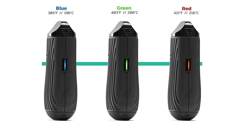 Boundless CFC Lite dry herb vaporizer in black showing temperature settings