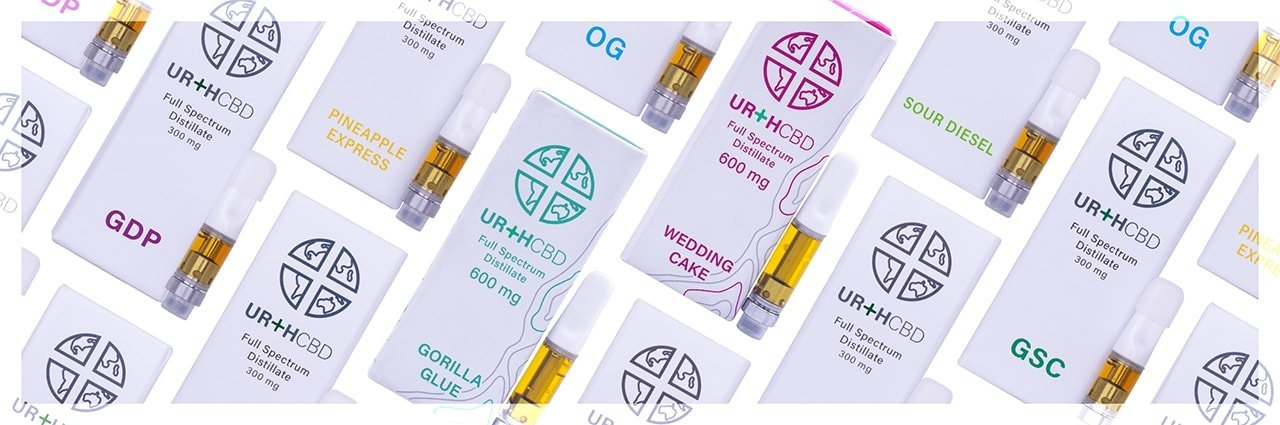 UrthCBD brand premium broad spectrum CBD oil cartridges with distillate and terpenes